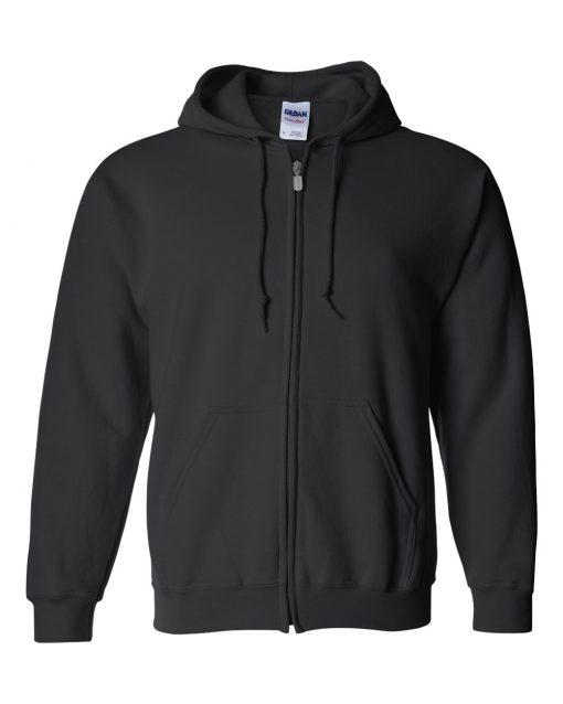 gildan 18600 zip hoodie black
