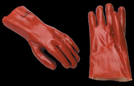 red PVC glove 11in