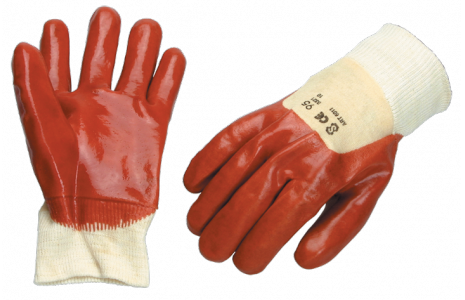 red PVC glove open back