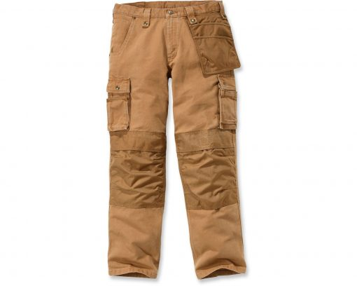 carhartt washed duck multi pocket trousers brown