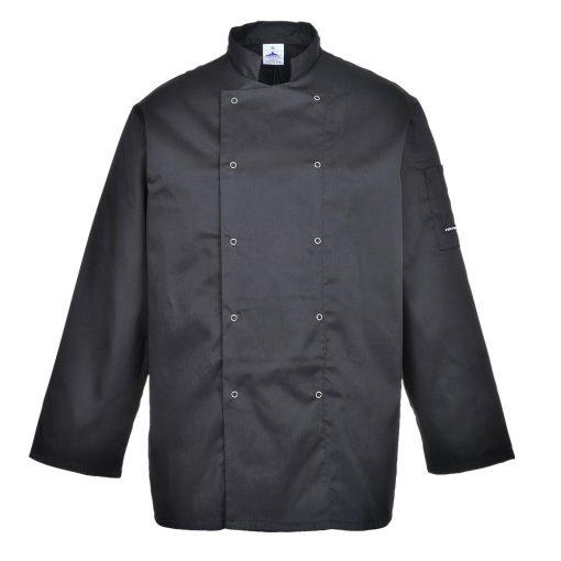 suffolk chef jacket long sleeve black