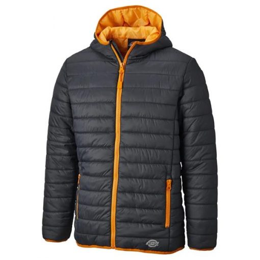 stamford puffer jacket grey orange