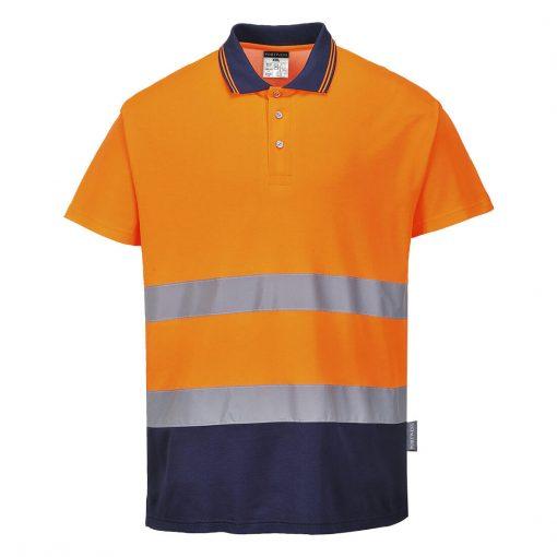 hi vis polo two tone s174 orange navy