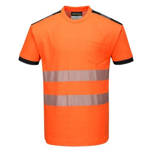 hi vis t shirt t181 orange black front