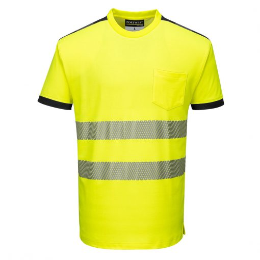 hi vis t shirt t181 yellow black front